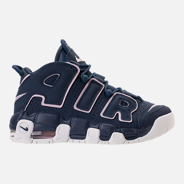 Right view of Girls' Grade School Nike Air More Uptempo Basketball Shoes in Thunder Blue/Particle Rose
