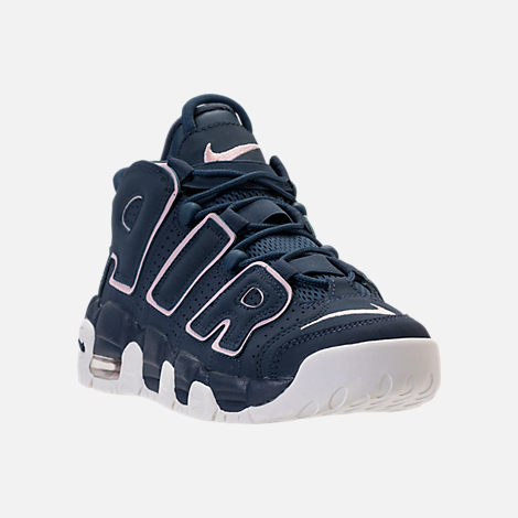 Three Quarter view of Girls' Grade School Nike Air More Uptempo Basketball Shoes in Thunder Blue/Particle Rose