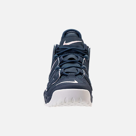 Front view of Girls' Grade School Nike Air More Uptempo Basketball Shoes in Thunder Blue/Particle Rose
