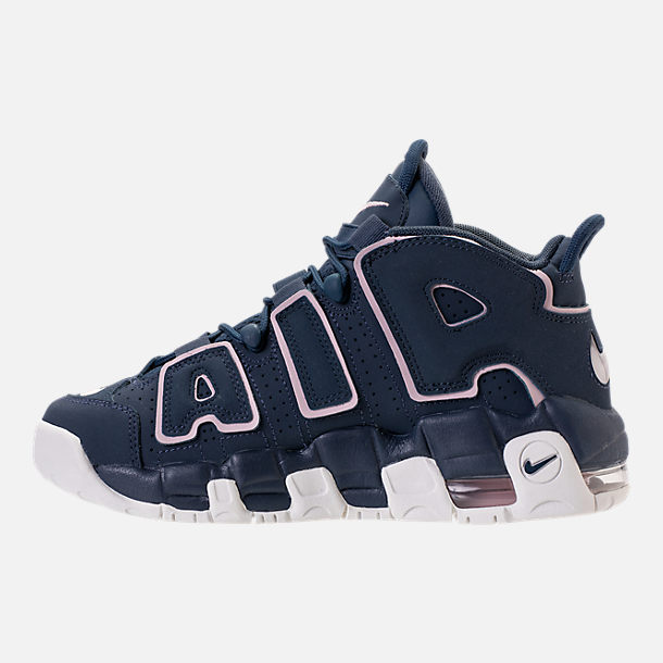 Left view of Girls' Grade School Nike Air More Uptempo Basketball Shoes in Thunder Blue/Particle Rose