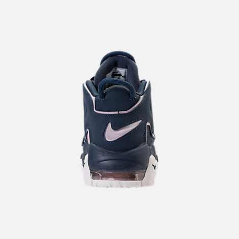 Back view of Girls' Grade School Nike Air More Uptempo Basketball Shoes in Thunder Blue/Particle Rose
