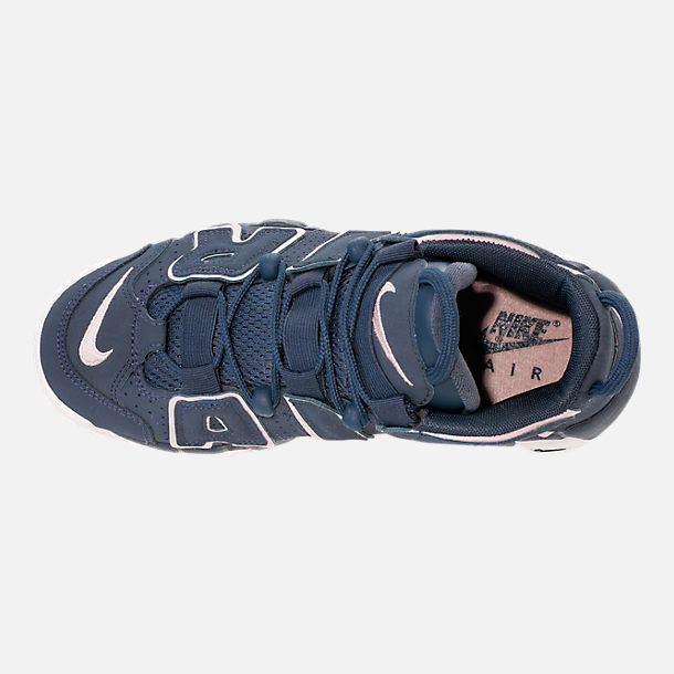 Top view of Girls' Grade School Nike Air More Uptempo Basketball Shoes in Thunder Blue/Particle Rose