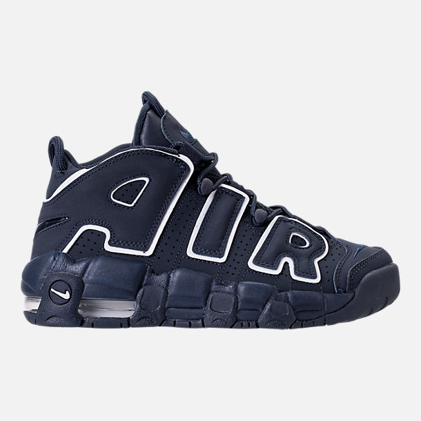 Right view of Boys' Grade School Nike Air More Uptempo Basketball Shoes in Obsidian/White/Gum Light Brown