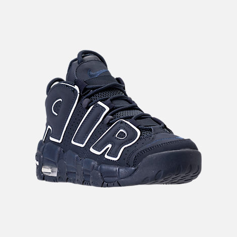 Three Quarter view of Boys' Grade School Nike Air More Uptempo Basketball Shoes in Obsidian/White/Gum Light Brown