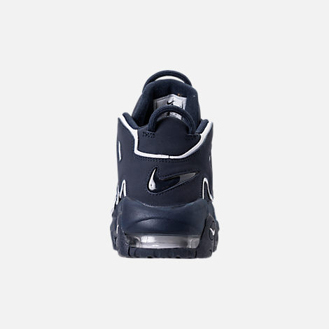 Back view of Boys' Grade School Nike Air More Uptempo Basketball Shoes in Obsidian/White/Gum Light Brown