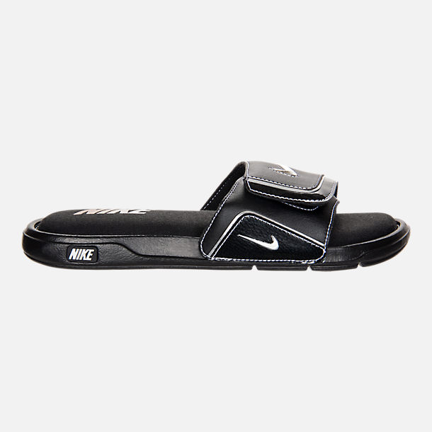 Right view of Men's Nike Comfort Slide 2 Sandals in Black/Metallic Silver/ White