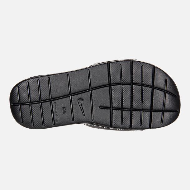 6f27de7d8da9a Bottom view of Men s Nike Comfort Slide 2 Sandals in Black Metallic Silver  White