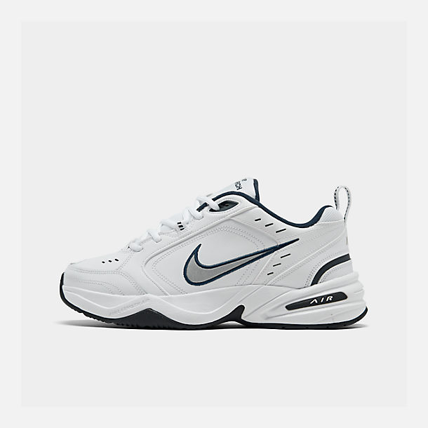 Right view of Men's Nike Air Monarch IV Training Shoes in White/Metallic Silver/Mid-Navy