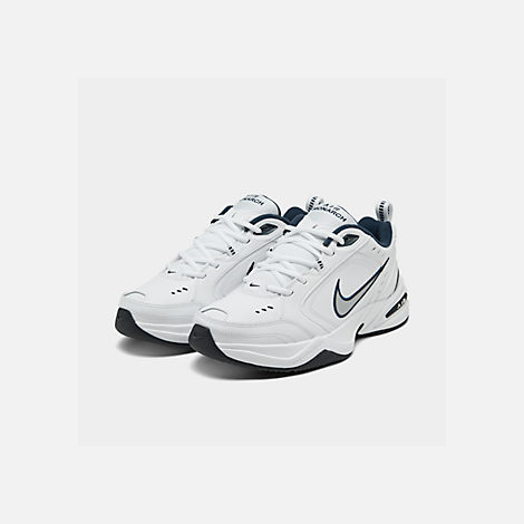 Three Quarter view of Men's Nike Air Monarch IV Training Shoes in White/Metallic Silver/Mid-Navy