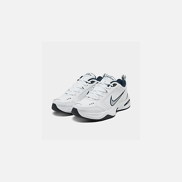 finest selection 51d03 e36e4 Three Quarter view of Men s Nike Air Monarch IV Training Shoes in  White Metallic Silver