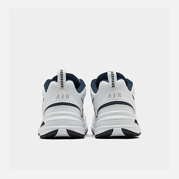 Left view of Men's Nike Air Monarch IV Training Shoes in White/Metallic Silver/Mid-Navy
