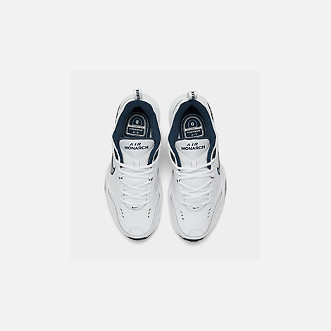 Back view of Men's Nike Air Monarch IV Training Shoes in White/Metallic Silver/Mid-Navy