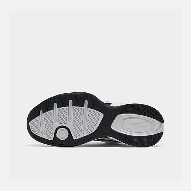Bottom view of Men's Nike Air Monarch IV Training Shoes in White/Metallic Silver/Mid-Navy