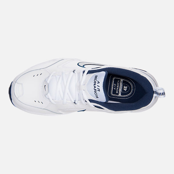 Top view of Men's Nike Air Monarch IV Training Shoes in White/Metallic Silver/Mid-Navy