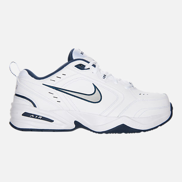 Right view of Men's Nike Air Monarch IV Extra-Wide Width Cross Training Shoes in White/Navy