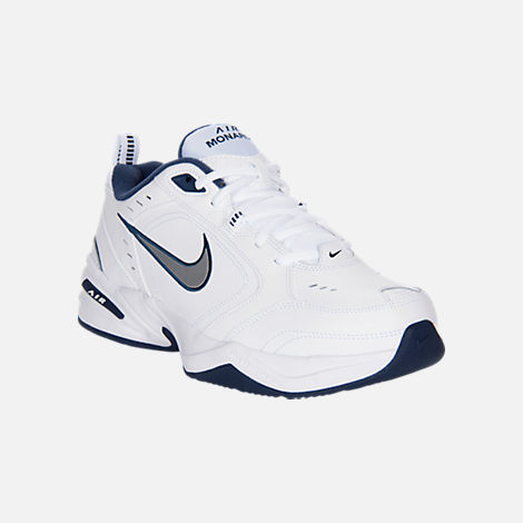 Three Quarter view of Men's Nike Air Monarch IV Extra-Wide Width Cross Training Shoes in White/Navy