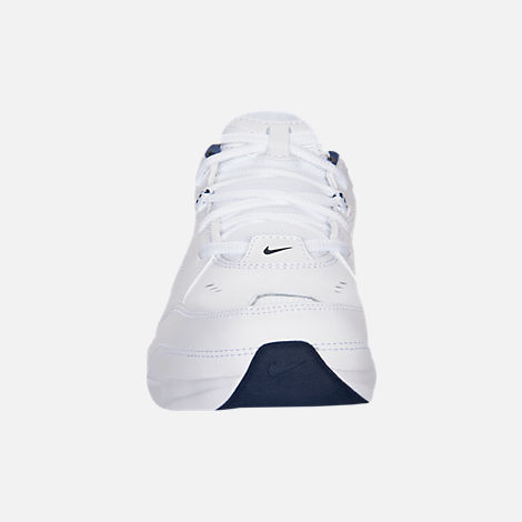 Front view of Men's Nike Air Monarch IV Extra-Wide Width Cross Training Shoes in White/Navy