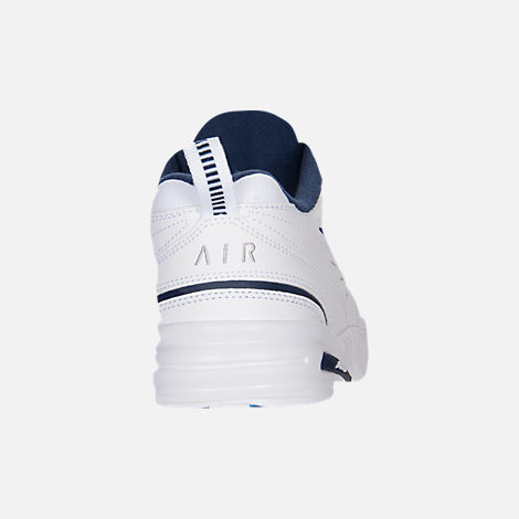 Back view of Men's Nike Air Monarch IV Extra-Wide Width Cross Training Shoes in White/Navy