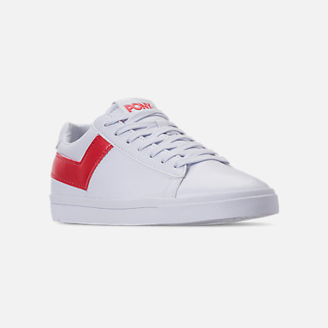 Three Quarter view of Women's Pony Top Star Low Core Casual Shoes in White/Red