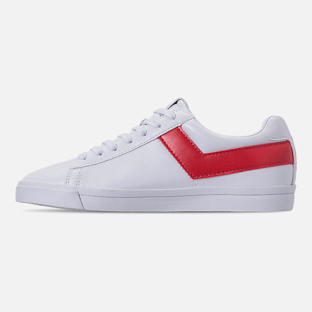 Left view of Women's Pony Top Star Low Core Casual Shoes in White/Red