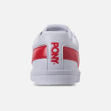 Back view of Women's Pony Top Star Low Core Casual Shoes in White/Red