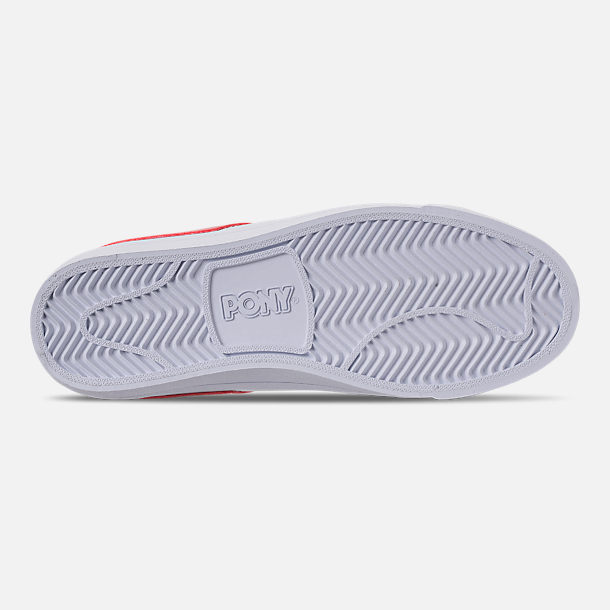 Bottom view of Women's Pony Top Star Low Core Casual Shoes in White/Red