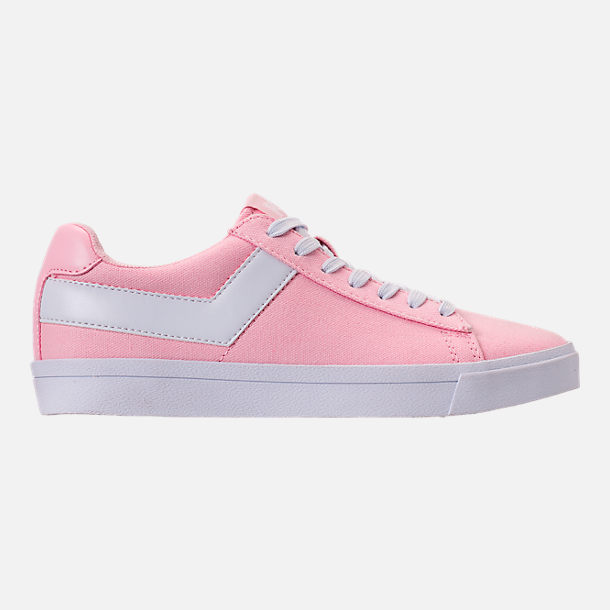 Right view of Women's Pony Top Star Low Canvas Casual Shoes in Pink/White