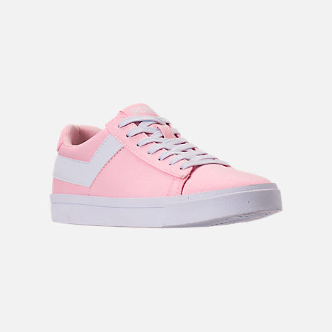 Three Quarter view of Women's Pony Top Star Low Canvas Casual Shoes in Pink/White
