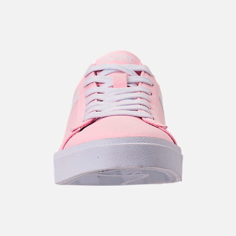 Front view of Women's Pony Top Star Low Canvas Casual Shoes in Pink/White