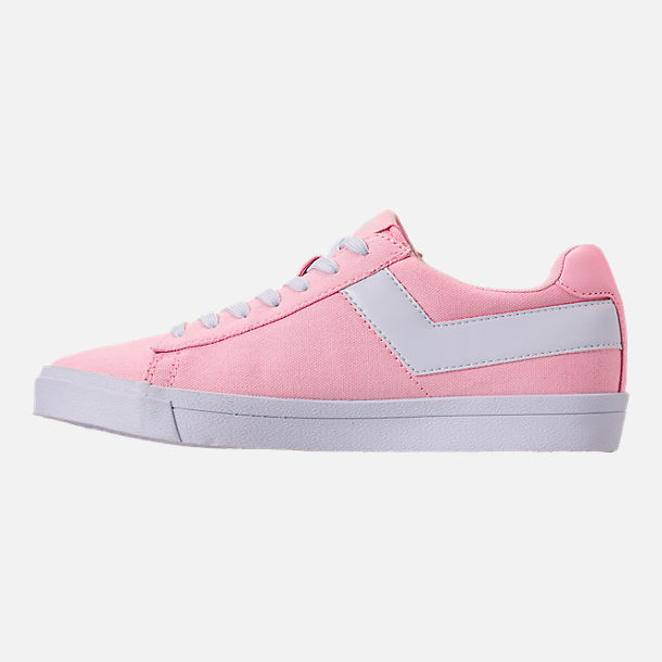 Left view of Women's Pony Top Star Low Canvas Casual Shoes in Pink/White