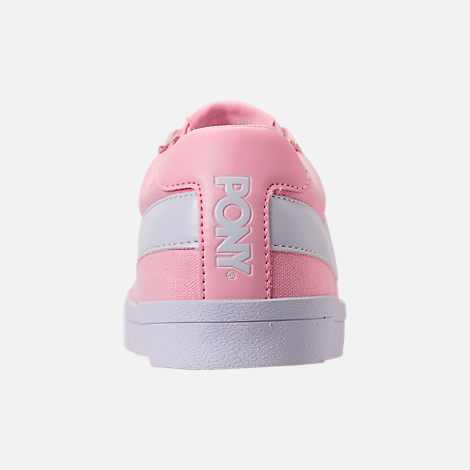 Back view of Women's Pony Top Star Low Canvas Casual Shoes in Pink/White