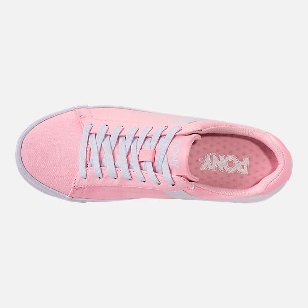 Bottom view of Women's Pony Top Star Low Canvas Casual Shoes in Pink/White