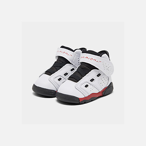 Three Quarter view of Boys' Toddler Jordan 6-17-23 Basketball Shoes in White/Gym Red/Black