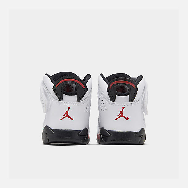 Left view of Boys' Toddler Jordan 6-17-23 Basketball Shoes in White/Gym Red/Black