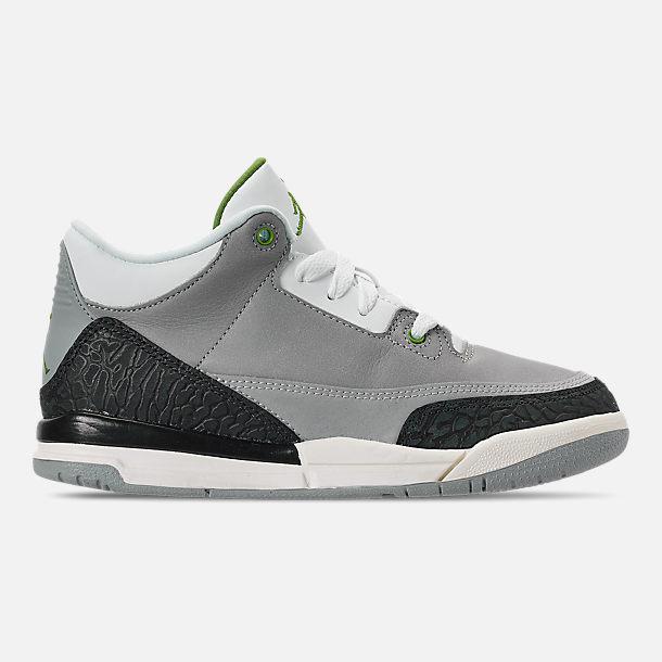 6555620aac5 Right view of Little Kids' Jordan Retro 3 Basketball Shoes in Light Smoke  Grey/