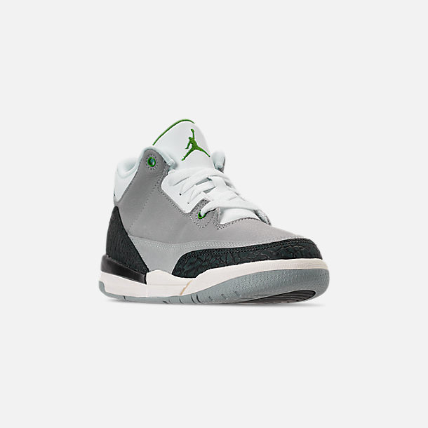 d2db40fef03 Three Quarter view of Little Kids' Jordan Retro 3 Basketball Shoes in Light  Smoke Grey