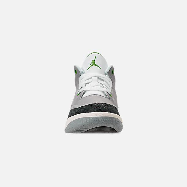 f593933e7d9 Front view of Little Kids' Jordan Retro 3 Basketball Shoes in Light Smoke  Grey/