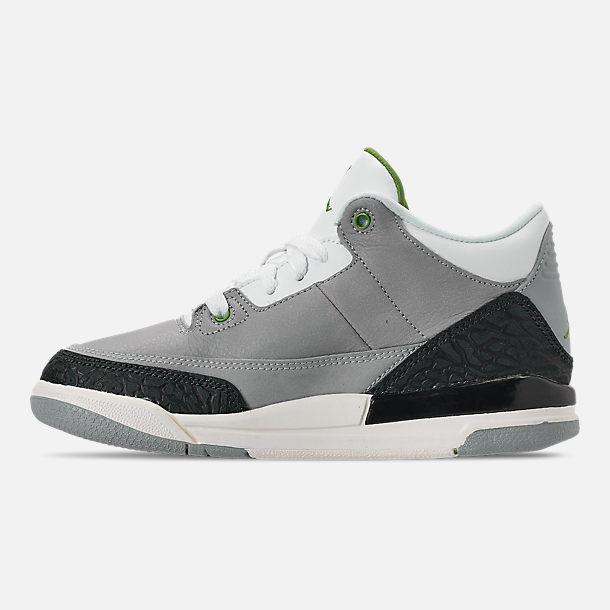 f6823a620cf Left view of Little Kids' Jordan Retro 3 Basketball Shoes in Light Smoke  Grey/