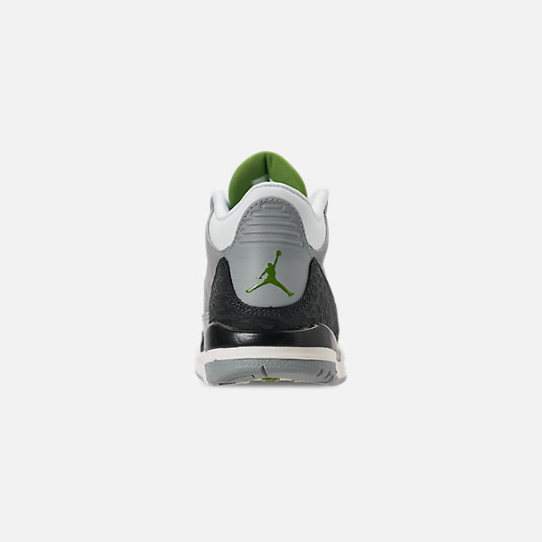 875afe6b5c8 Back view of Little Kids' Jordan Retro 3 Basketball Shoes in Light Smoke  Grey/
