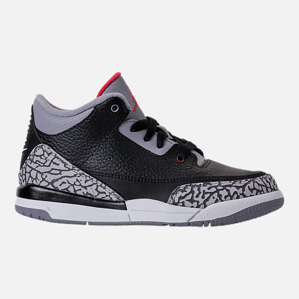 Right view of Kids' Preschool Jordan Retro 3 Basketball Shoes in Black/Fire Red/Cement Grey