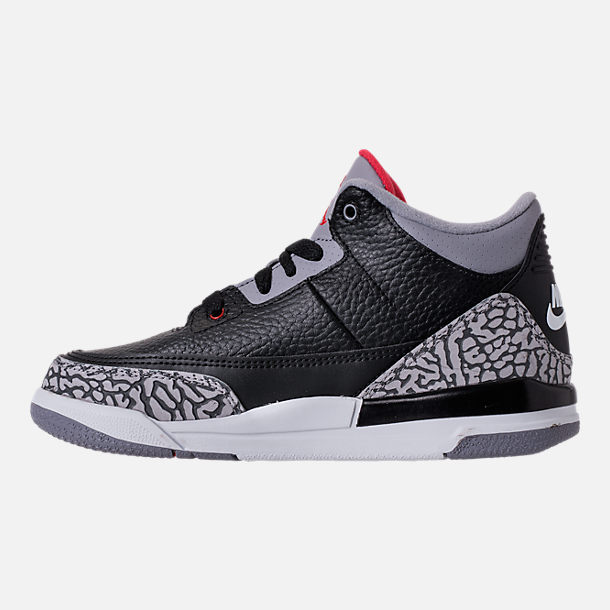 Left view of Kids' Preschool Jordan Retro 3 Basketball Shoes in Black/Fire Red/Cement Grey