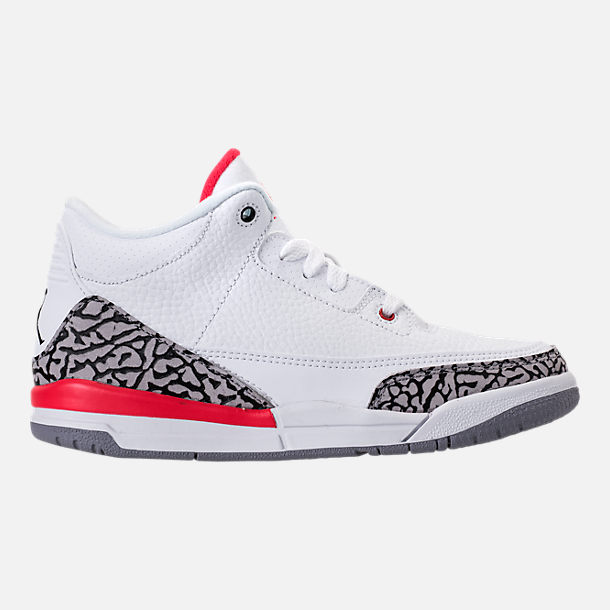 Right view of Kids' Preschool Jordan Retro 3 Basketball Shoes in White/Fire Red/Cement Grey/Black