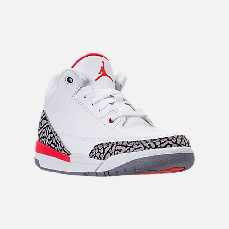 Three Quarter view of Kids' Preschool Jordan Retro 3 Basketball Shoes in White/Fire Red/Cement Grey/Black