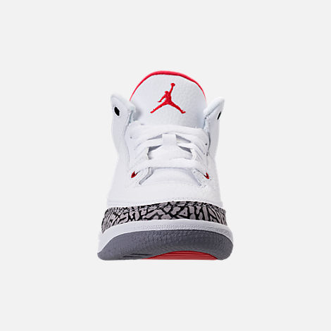 Front view of Kids' Preschool Jordan Retro 3 Basketball Shoes in White/Fire Red/Cement Grey/Black