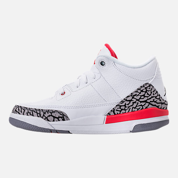 Left view of Kids' Preschool Jordan Retro 3 Basketball Shoes in White/Fire Red/Cement Grey/Black