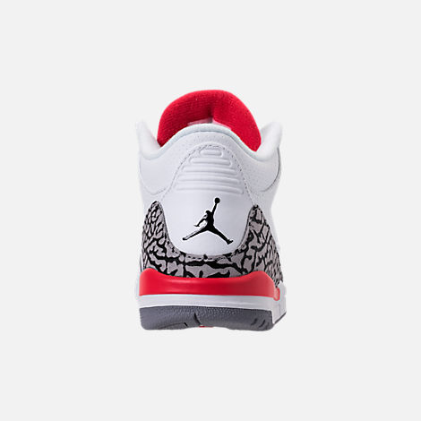 Back view of Kids' Preschool Jordan Retro 3 Basketball Shoes in White/Fire Red/Cement Grey/Black