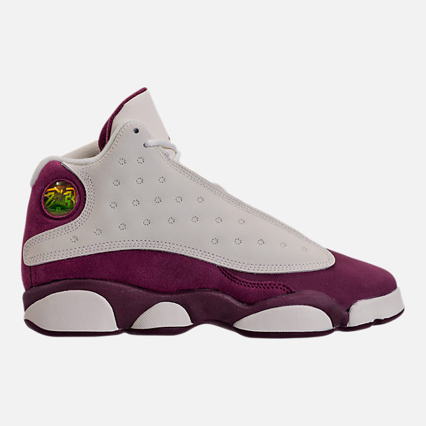 Right view of Kids' Grade School Air Jordan Retro 13 (3.5y - 9.5y) Basketball Shoes in Sail/Metallic Red Bronze/Bordeaux