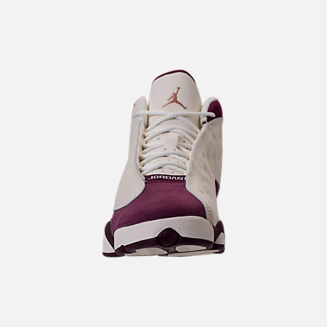 Front view of Kids' Grade School Air Jordan Retro 13 (3.5y - 9.5y) Basketball Shoes in Sail/Metallic Red Bronze/Bordeaux