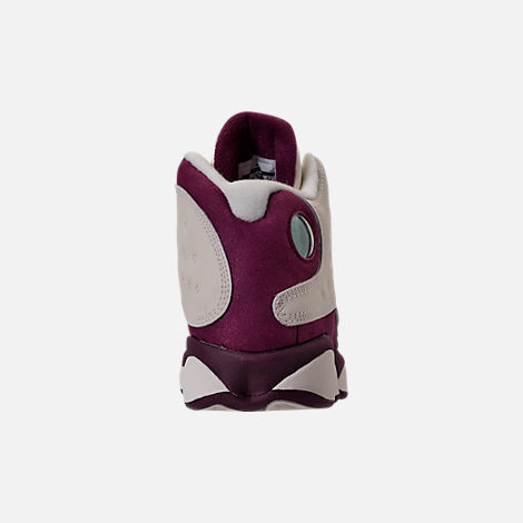 Back view of Kids' Grade School Air Jordan Retro 13 (3.5y - 9.5y) Basketball Shoes in Sail/Metallic Red Bronze/Bordeaux