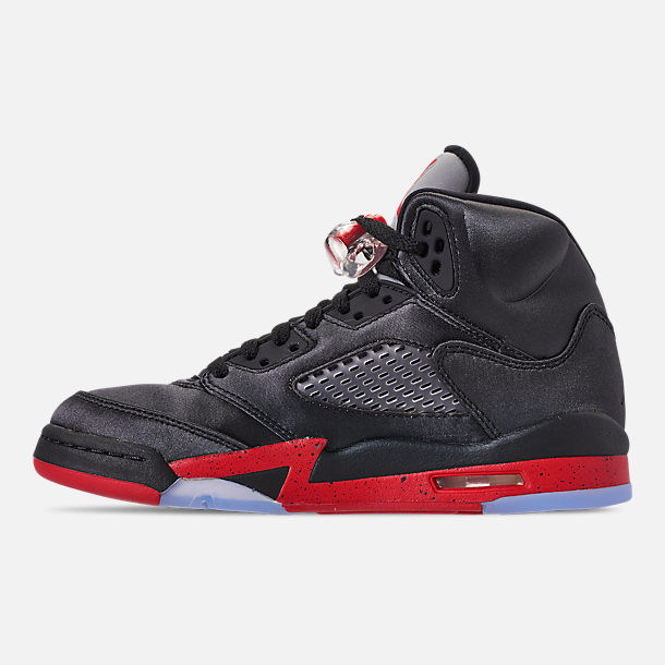 Left view of Big Kids' Air Jordan Retro 5 Basketball Shoes in Black/University Red